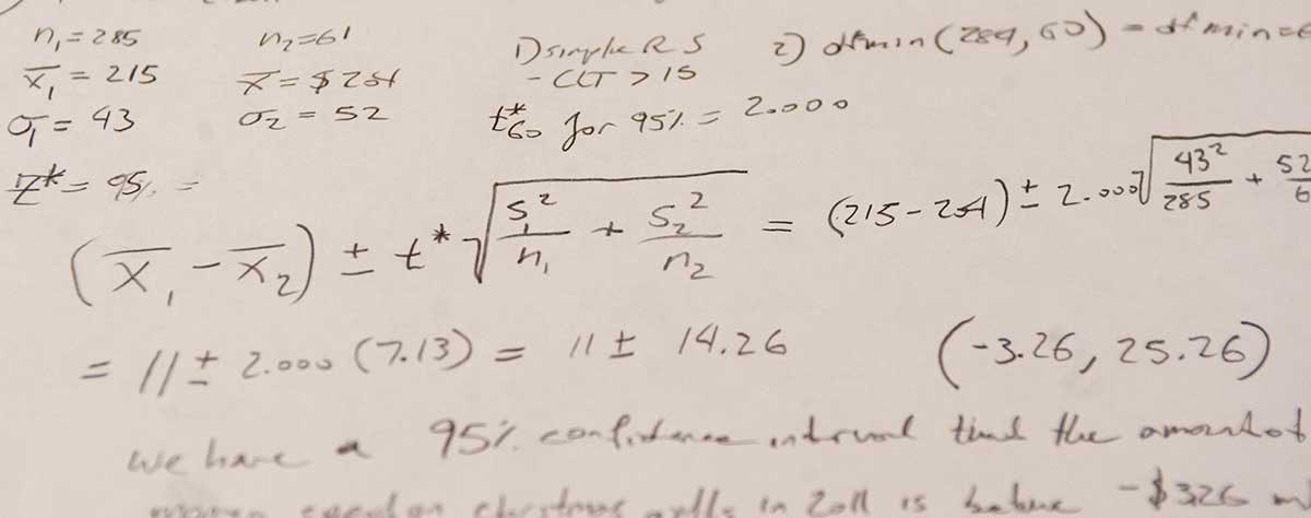 math problems scrawled on a piece of paper